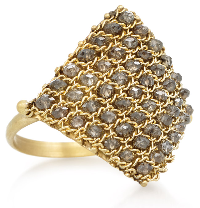 Champagne diamond and gold ring from Amali