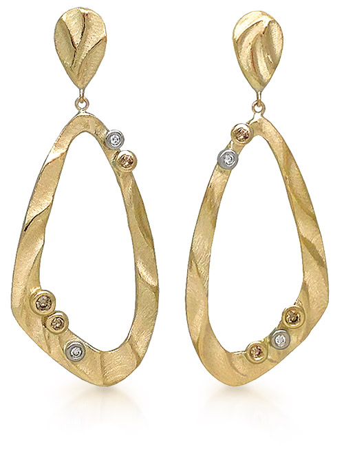 Gold and diamond earrings from K. Mita Design