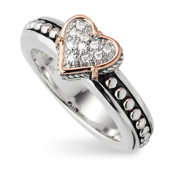 Fortuna Heart pavé ring from John Atencio
