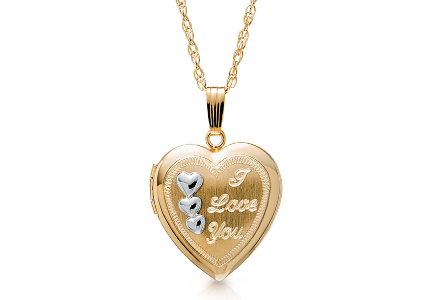 Marathon Collection 14K yellow gold locket with three small silver hearts with space for two photographs inside