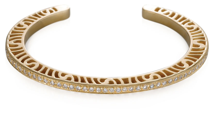 Martha Seely Narrow Shooting Stars stacking bracelet in 14K yellow gold with diamonds