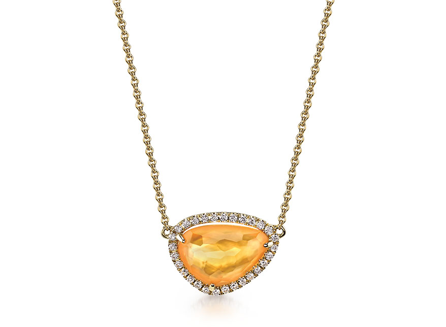 Sylvie Collection 14K yellow gold pendant with a pear citrine over mother of pearl (doublet) with diamonds