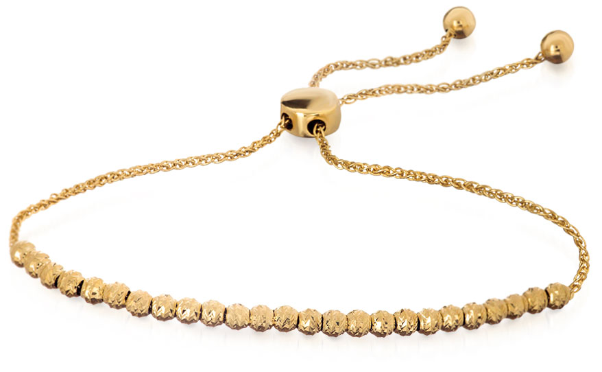 Midas Chain 14K yellow gold chain bracelet with diamond-cut beads