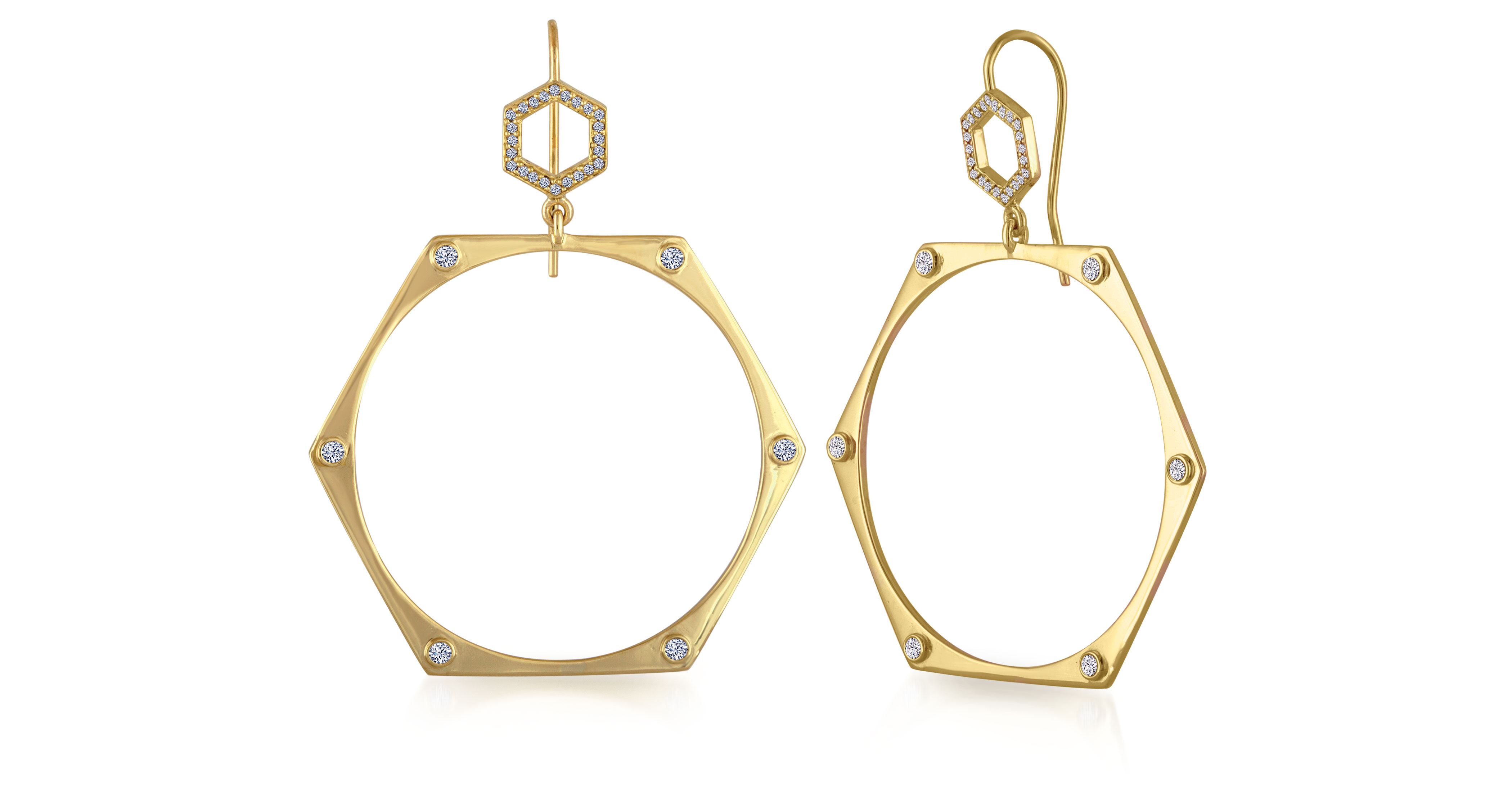 Amy Glaswand 18K gold earrings with champagne diamonds