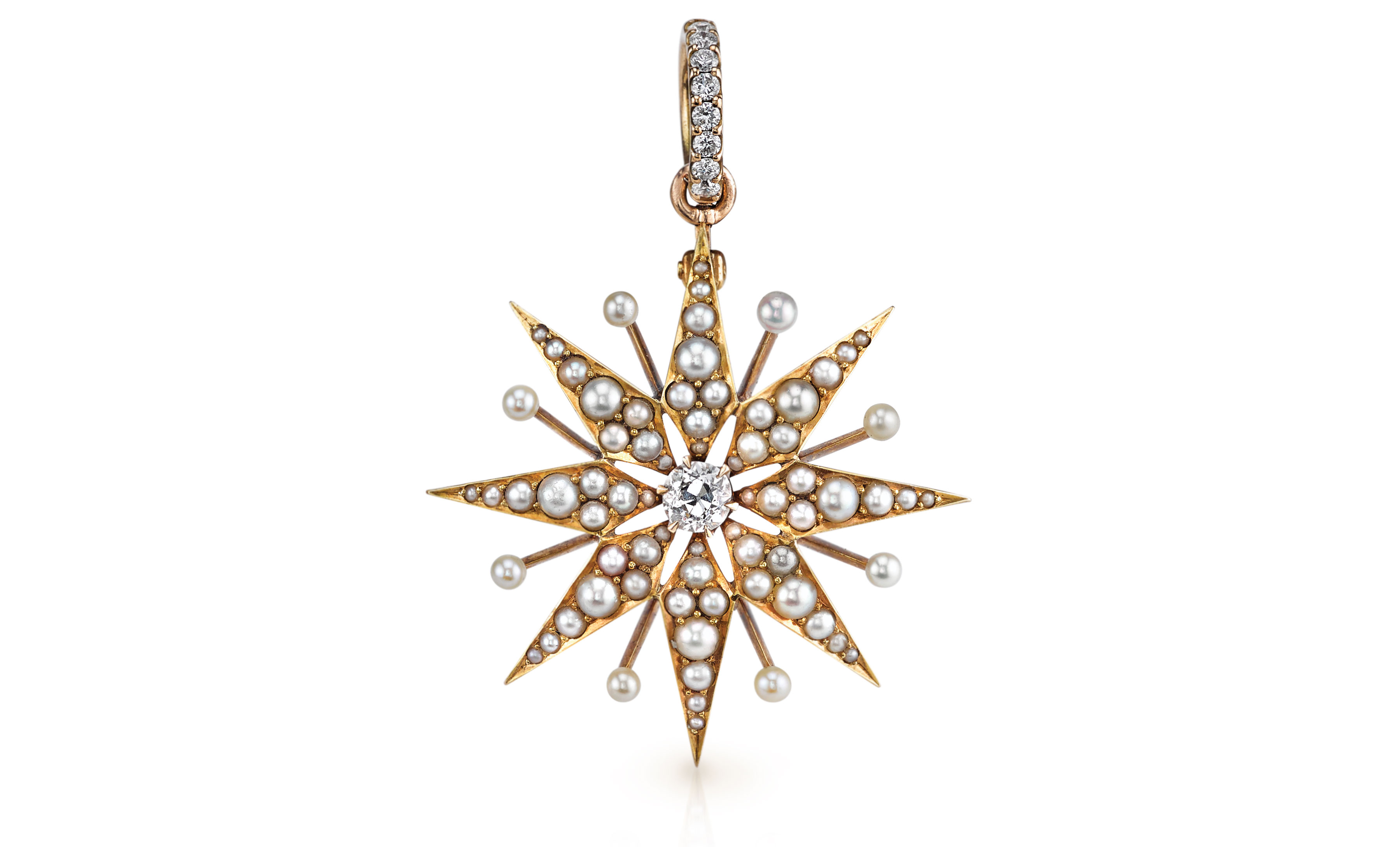 Anabel Higgins Victorian pendant with seed pearls with diamonds