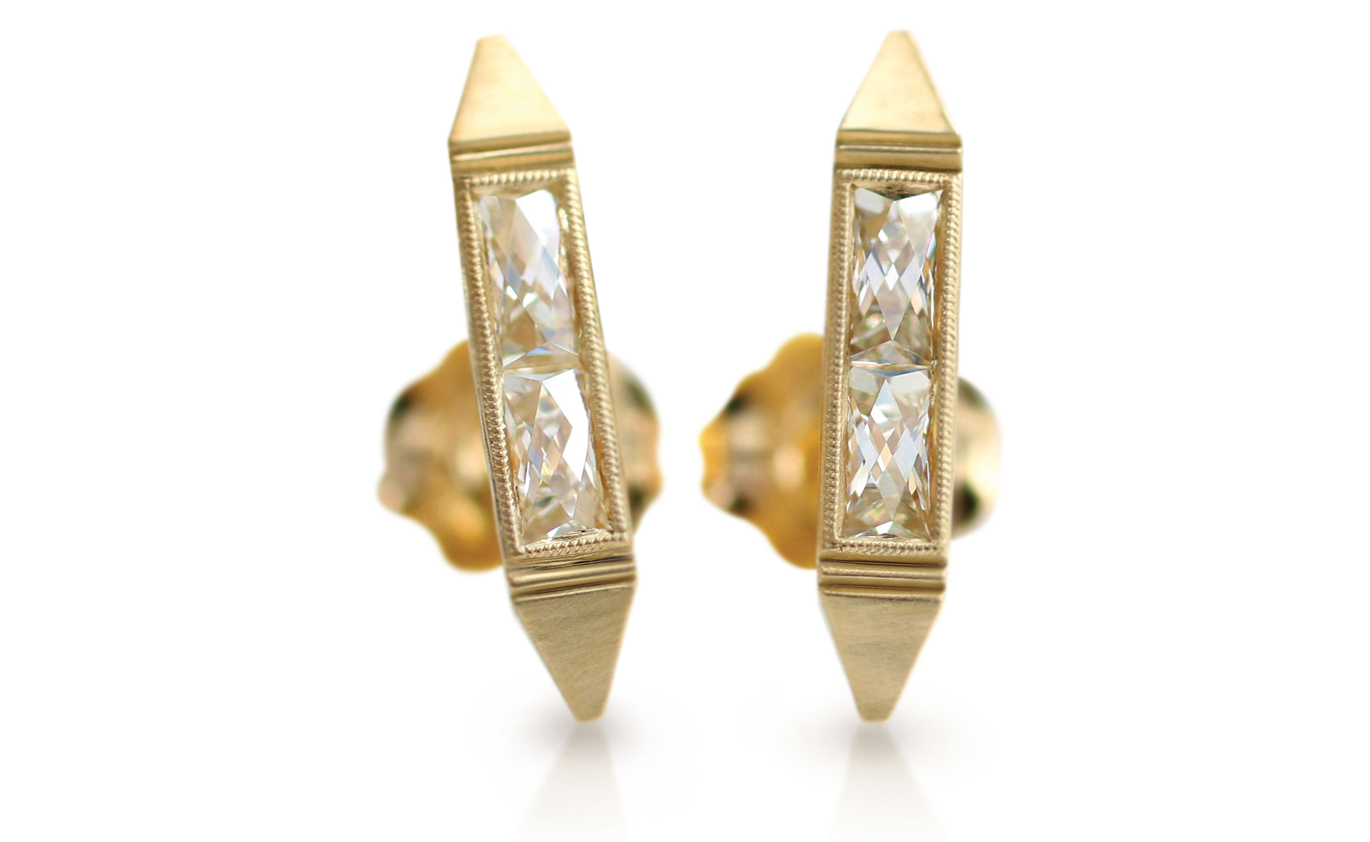 Erika Winters hand-engraved 18K yellow gold earrings with French-cut diamonds