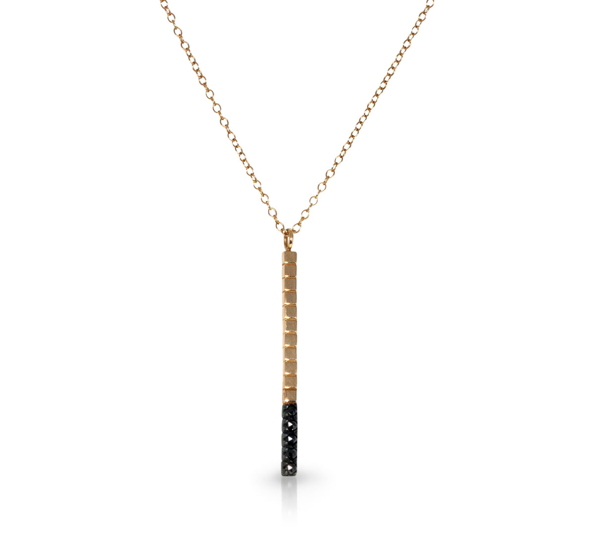 Imperfect Grace 14K yellow gold and oxidized sterling silver bar necklace