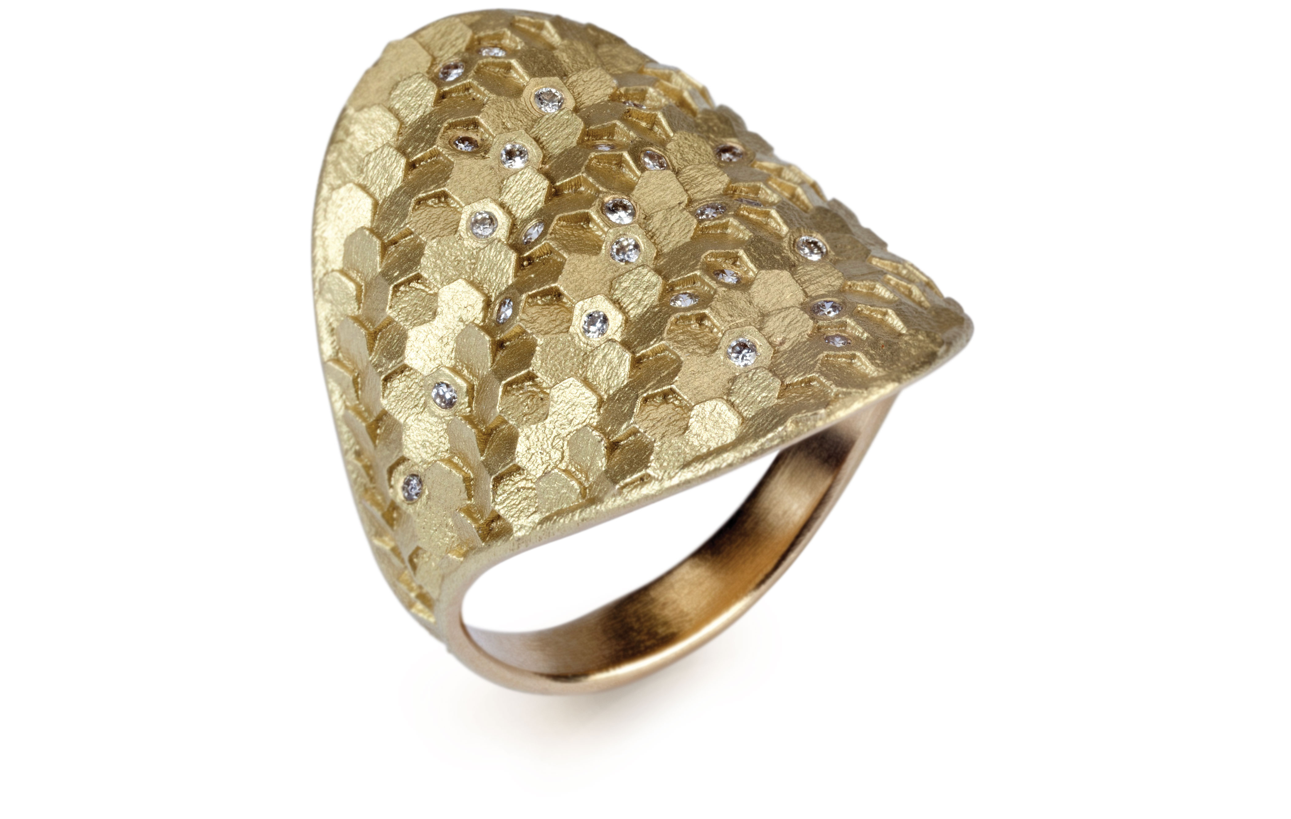 Jo Hayes Ward Hex Shield ring in 18K yellow gold with white brilliant-cut diamonds