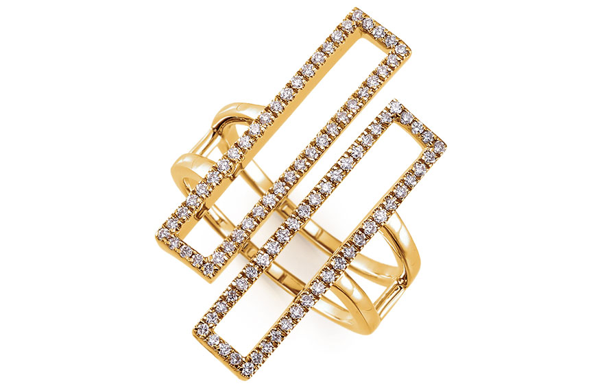 Stuller 14K yellow gold double rectangle ring with diamonds