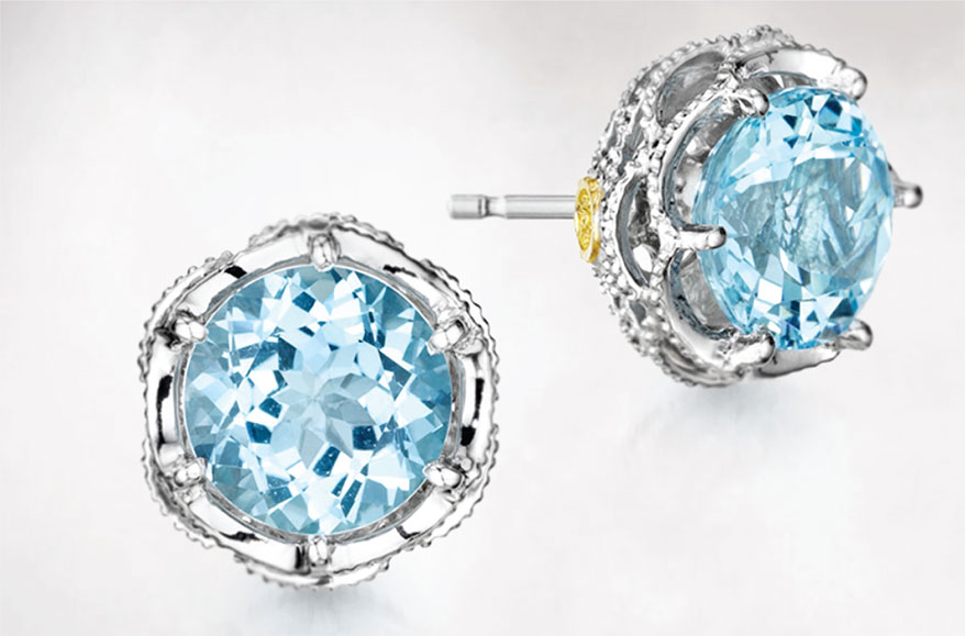 Tacori studs with sky blue topaz