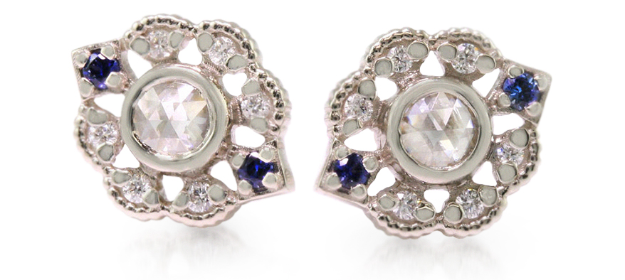 White gold studs from Megan Thorne