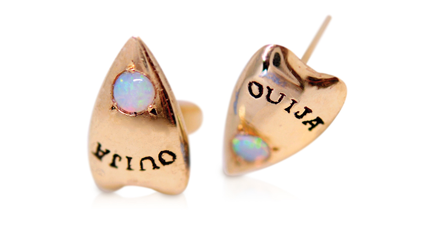 Gold earrings with opals from Morphe