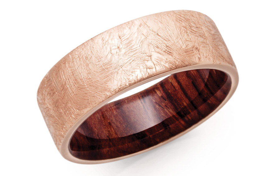 Lashbrook 14K rose gold band with distressed finish and Mexican Cocobolo hardwood sleeve