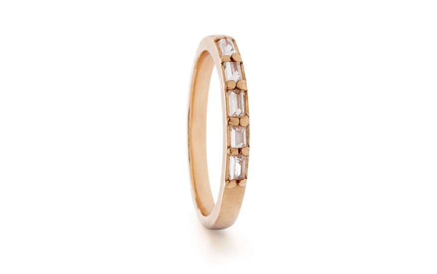 Rebecca Overmann 14K yellow gold band with inverted white diamond baguettes