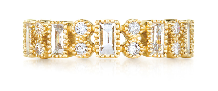 Sethi Couture 18K yellow gold band with baguette and round diamonds