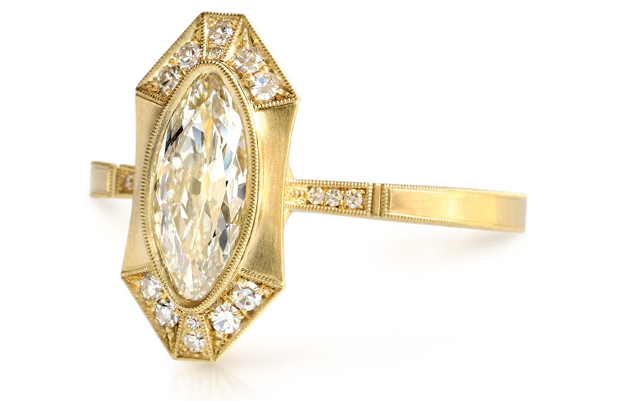Erika Winters Fine Jewelry 18K yellow gold ring with antique marquise-cut diamond