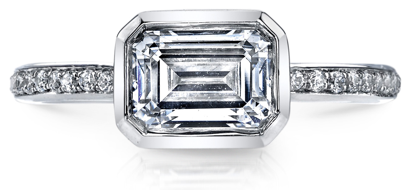 Mars Jewelry 14K white gold setting for an east-west emerald cut stone