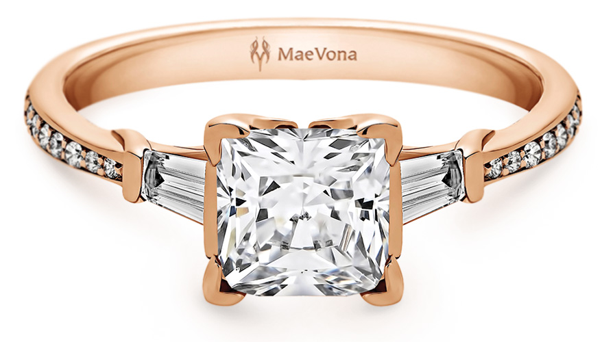 MaeVona 14K yellow gold setting with tapered baguette diamonds and diamond pavé