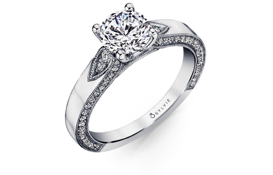 Sylvie Collection 14K white gold setting with diamonds
