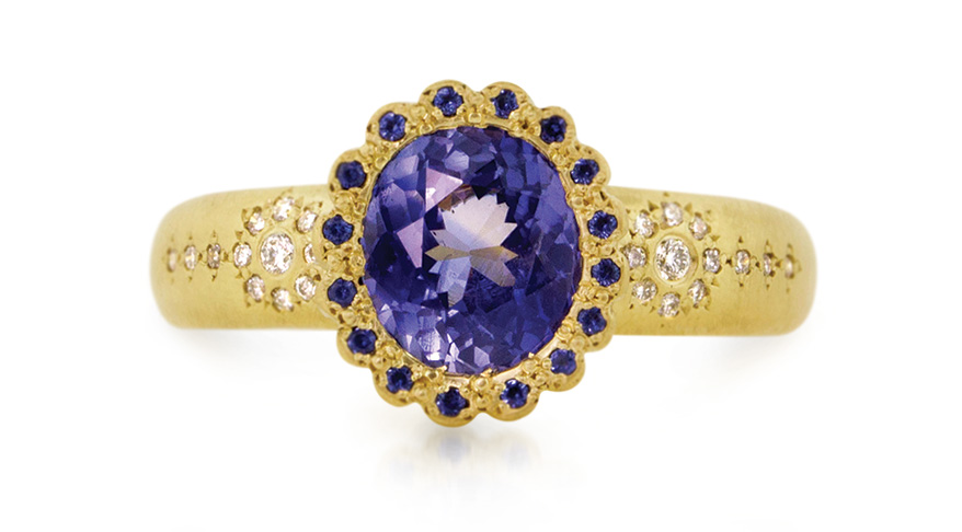 Adel Chefridi 18K yellow gold setting with sapphire-set bezel and diamonds