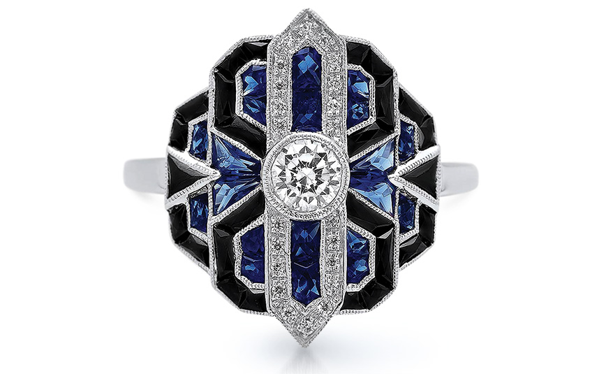 Beverley K 8K white gold ring with diamonds, sapphires and onyx