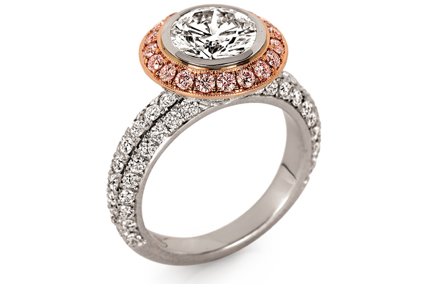 Jack Kelége platinum and rose gold setting with white diamonds and natural fancy pink diamonds