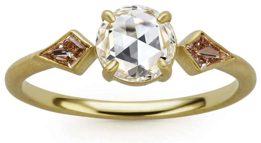 Michelle Fantaci 18K green gold ring with Canadian rose cut center diamond