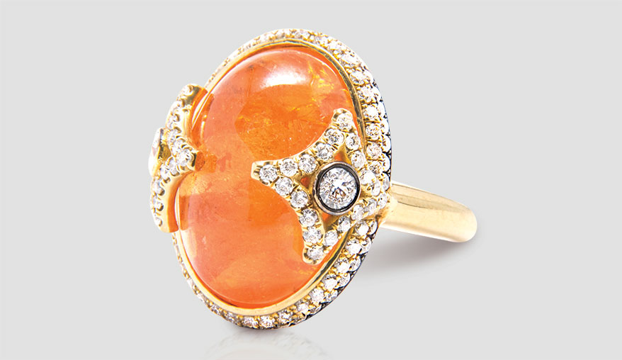 Spessartite cabochon ring from Jordan Alexander