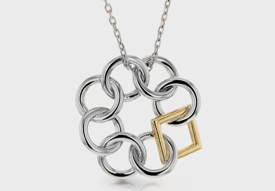 Embrace the Difference sterling silver and 14K rose gold pendant