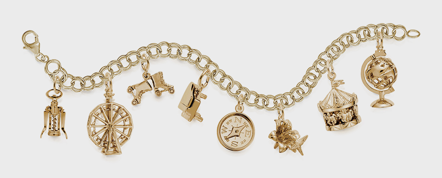 Rembrandt Charms 14K yellow gold bracelet with charms