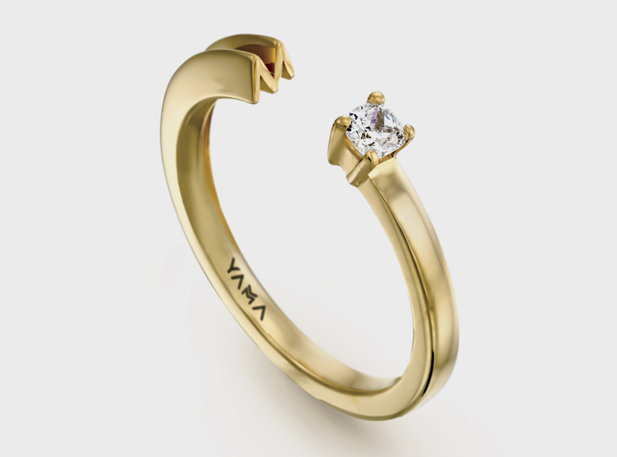 YAMA Jewelry 14K yellow gold ring with diamonds