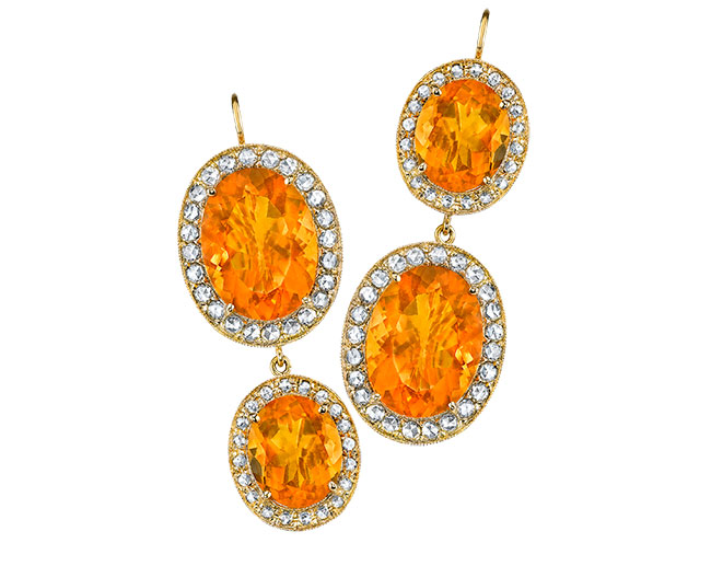 Oval fire opal earrings from Andrea Forman
