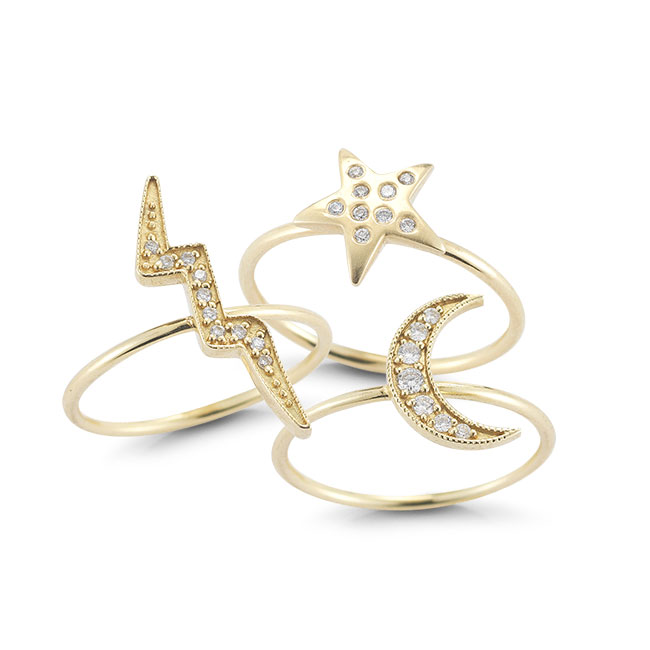 Bolt, Star and Crescent Moon rings from Andrea Fohrman