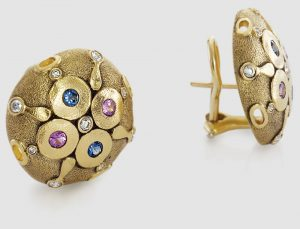 Alex Sepkus 18K gold circular Omega clip earrings with gemstone accents