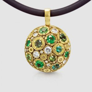 Alex Sepkus 18K gold spherical pendant with diamonds, tsavorites, green tourmalines and green sapphires