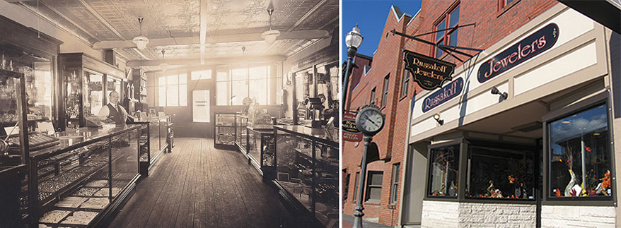 Left, Russakoff Jewelers in 1910 and its exterior today (Right)