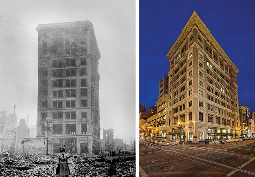 Left: San Francisco's Shreve Building in April 1906 after the earthquake and fire, which struck just one month after the store opened. Right: Left, the Shreve Building in March 1906.