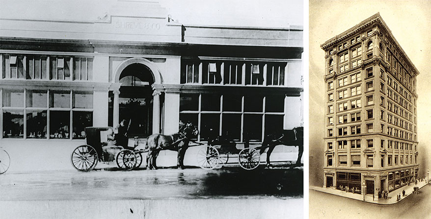 Left, an even earlier location. Right, the Shreve Building in March 1906