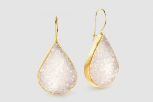 Nina Nguyen Bamboo Mariposa large earrings with white druzy