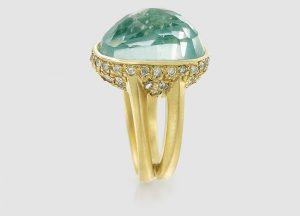 Vicente Agor aquamarine and diamond ring