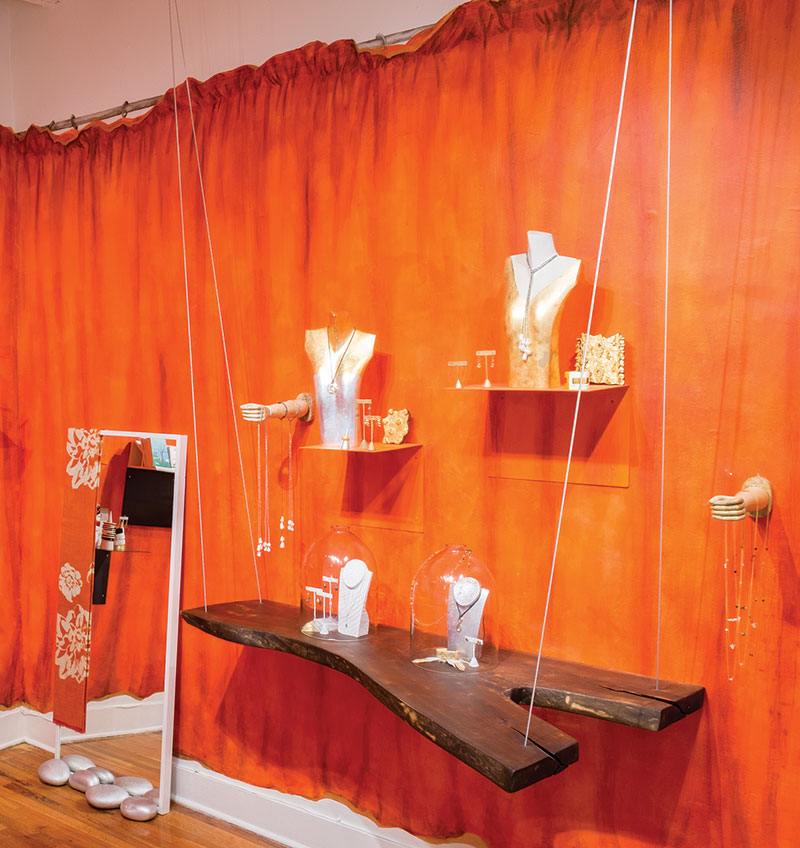 18d8ff69f The boutique is colorful and eclectic with whimsical display elements. It's  easy to touch and try on the jewelry.