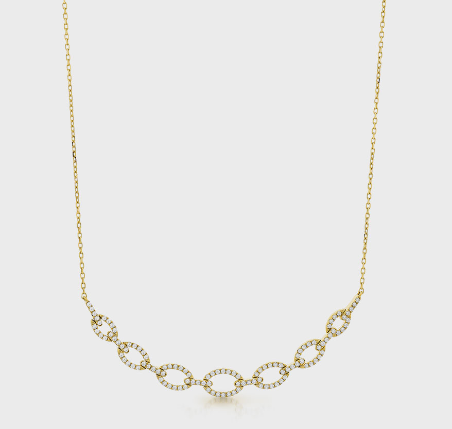 Facet Barcelona 14K yellow gold necklace with diamonds