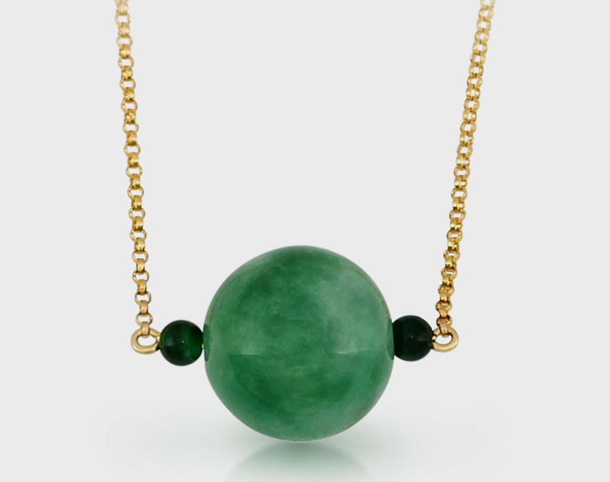Mason-Kay 14K yellow gold necklace with jade beads