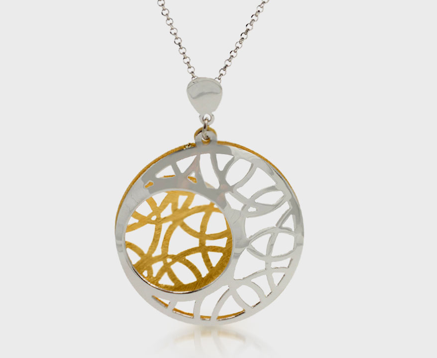 Frederic Duclos sterling silver and yellow gold-plated pendant