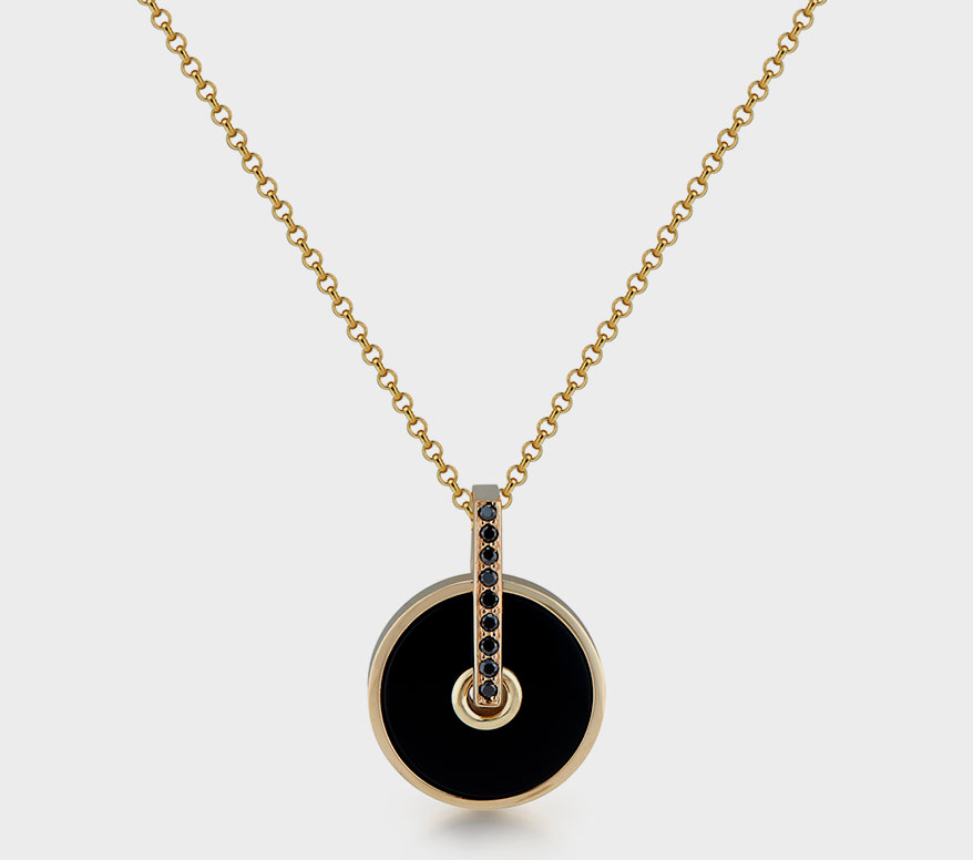 Lindley Gray 14K yellow gold pendant with onyx and black diamonds