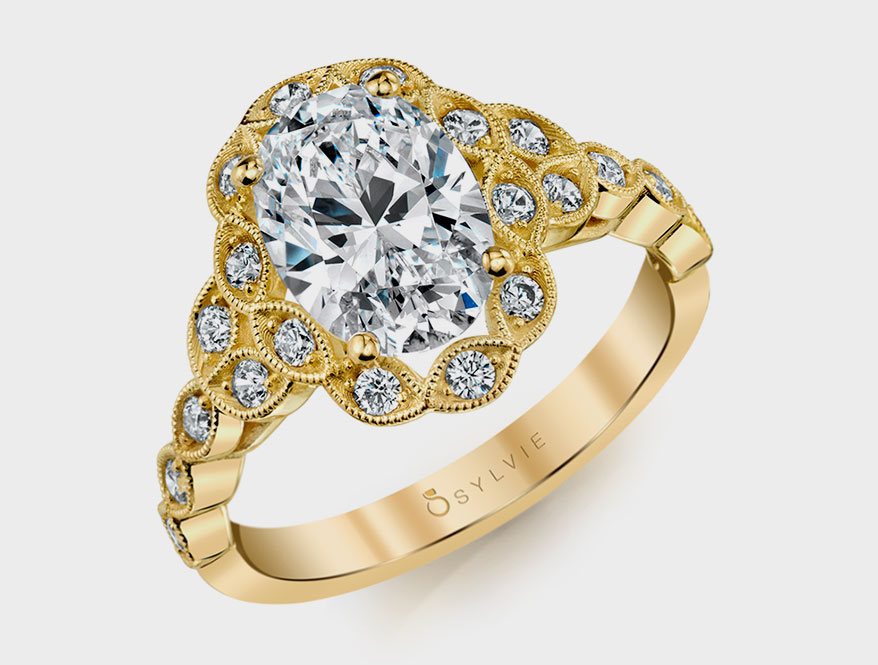 Sylvie Collection 14K yellow gold semi-mount