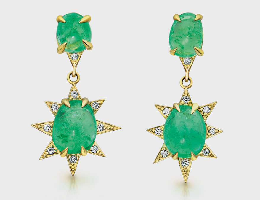 Emerald Starburst earring with Muzo emerald from M. Spalten Jewelry