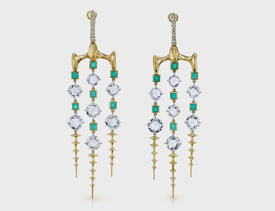 Vram emerald and diamond chandelier earrings