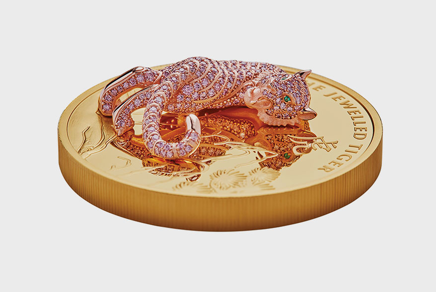 Pink Diamond Jeweled Tiger Leaps onto Rare Perth Mint Coins