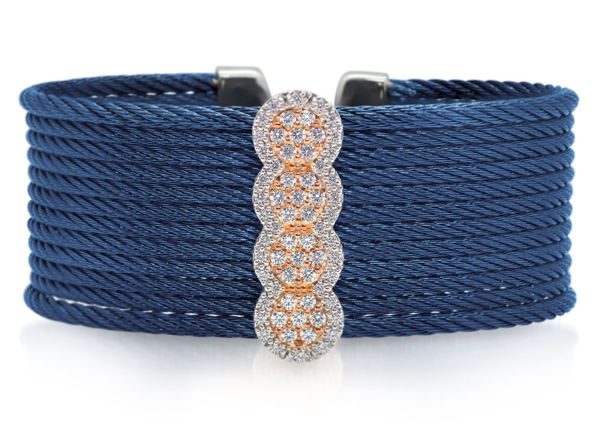 ALOR limited edition 40th Anniversary cuff in blueberry cable with 18K rose gold and stainless steel with diamonds